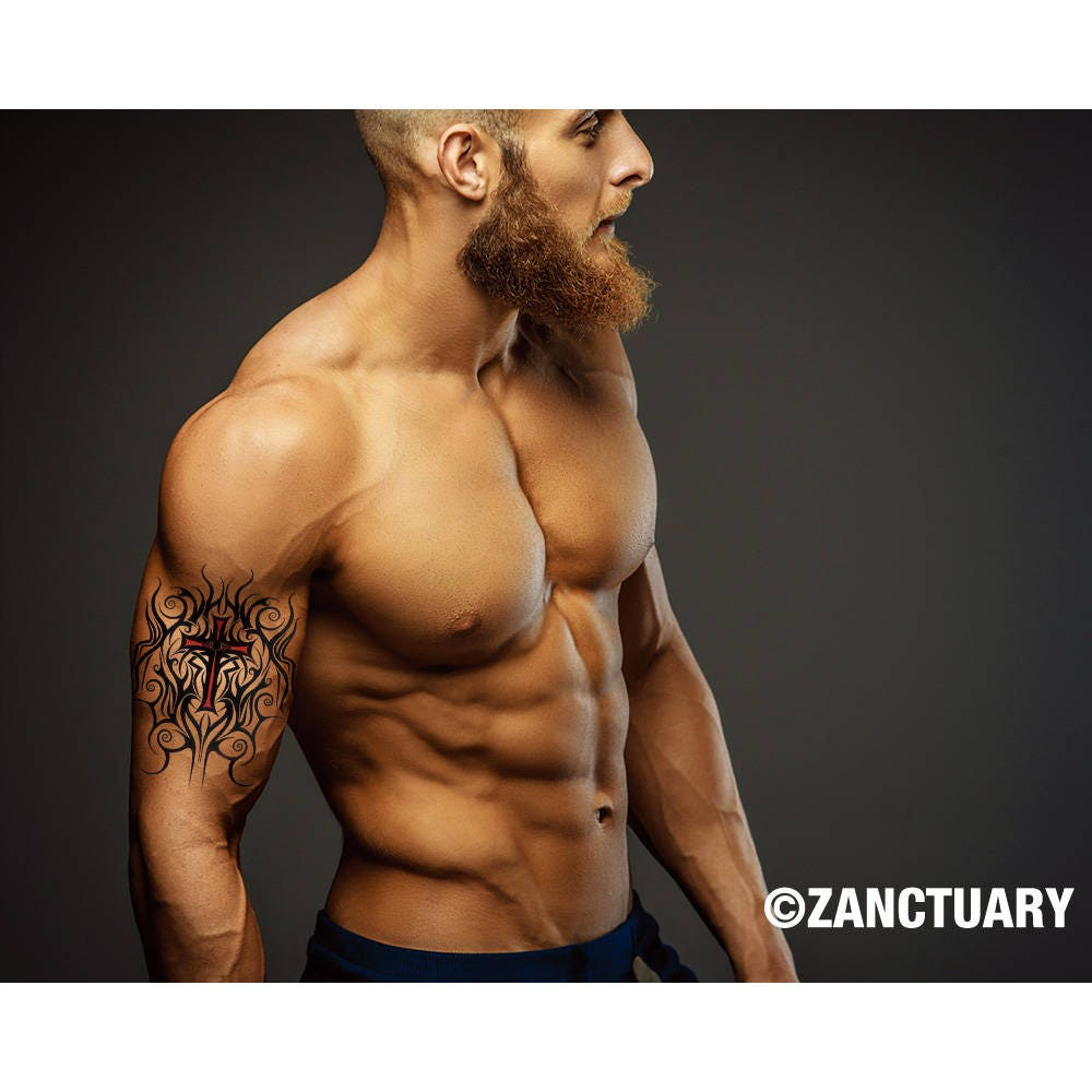 tribal arm tattoo tribal cross tattoo men temporary tattoo. Black Bedroom Furniture Sets. Home Design Ideas