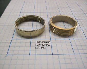 """1 1/2"""" Opening Threaded Brass Inserts Thin Straight Sides"""