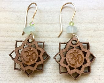 Wooden Lotus Om Earring with Jade and Gold Finish