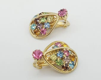 Vintage Signed Judy Lee Multicolor Rhinestone & Gold Tone Clip Earrings