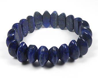 1 Pcs Beautiful Afghan Lapis Lazuli Blue Stone Bracelet Bead PDA02