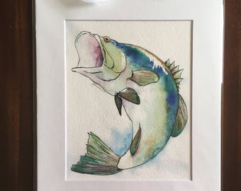 """The Big One - 8""""x10"""" Physical Print of Large Mouth Bass Fish Watercolor Painting"""