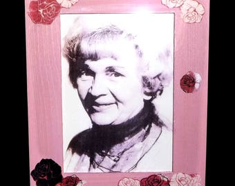 Wooden Picture Frame - Light Pink Colour  - hand decorated with shabby-chic roses. Modern shabby-chic look.