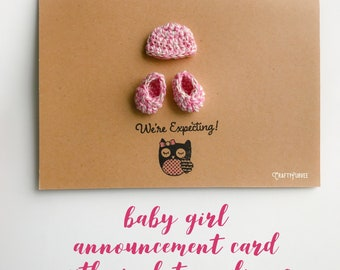 Baby Announcement card with crochet appliques