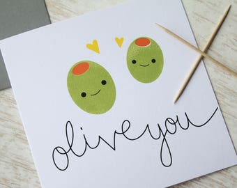 Olive You Card, Love Card, Anniversary Card, Funny Valentines Card, Funny Anniversary Card, Valentines Card, Birthday Card, Olive Card