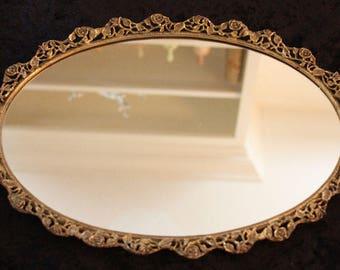Vintage Mirrored Oval Vanity Tray