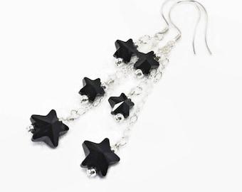 Star Earrings. Black Crystal Jewellery for Women. Swarovski. Birthday Earring Gift Idea. Sterling Silver Triple Chain. Star Crystal Drops.