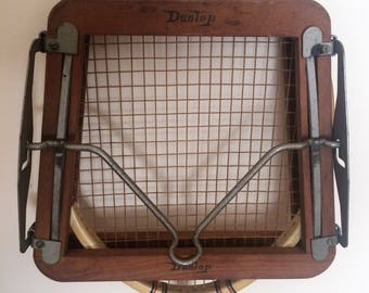 Beautiful Vintage Wooden Dunlop Tennis Racket with Press