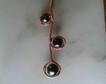 Black Pearl Pendant, Copper Pendant, Geometric Pendant
