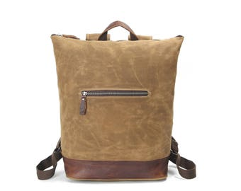 Top-Zipper vintage style leather canvas backpack - Khaki, waxed canvas, water resistant