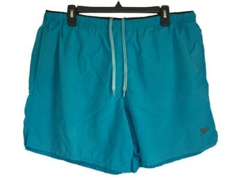 Vintage Speedo Embroidered Blue Swim Shorts/Trunks with Pockets Large
