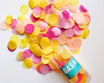 "Tissue Paper Confetti - Yellow, Hot Pink, Peach, Pastel Pink - throwing confetti - balloon 1"" round lemonade summer party brunch circle"
