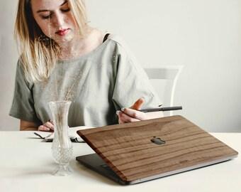 Macbook Wood Case for Apple Mac Air Pro 11 12 13 15 inch - Walnut Wood Mac book Case - Mac Skin - Mac Sticker - Mac Cover Mac Case for gift