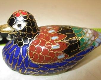 """2.5"""" Vintage Duck Bird Cloisonne Statue Figurine Gold Plated Enamel Brass"""