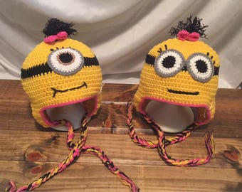 Minion girls crochet hats with earflaps