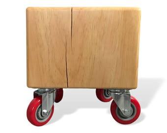 Wood Block Side Table W/ Industrial Wheels / Coffee Table / End Table / Tree