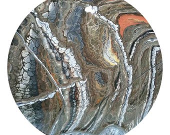 Painted Table Centrepiece, Original acrylic abstract art -  Inspired by Thin Section Mineral Photography