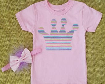 Pink Princess Crown Birthday Shirt with Matching Headband - Size 12-18 Months - Personalization Available!