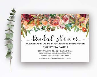 Floral Bridal Shower Invitation, Fall Bridal Shower Invite, Autumn Bridal Shower Invitation, Fall Bridal Shower Invitation, Boho invite