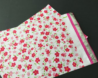 25 12x15.5 Designer Poly Mailers LITTLE RED FLOWERS Envelopes Shipping Bags