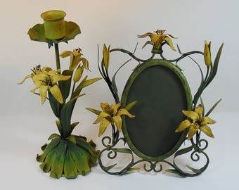Vintage Tole Candle Stick and Standing Frame Yellow Flowers, Vintage Enamel Hand Painted Toleware, Vintage Tole Set For Table/Dressing Table