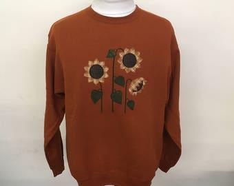 Three Sunflowers Applique Crewneck Sweatshirt