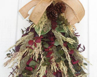 Dried Flower Swag, All Natural Swag, Swag, Fall Swag, Dried Flower Arrangement, Wall Decor, Dried Floral Arrangement, Wall Arrangement