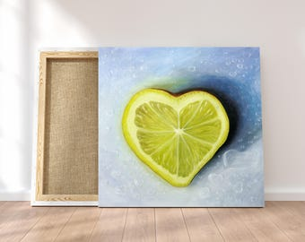 Custom Valentines Day Gift. Personalized Gift Custom Oil Painting of Lemon. Romantic Canvas Art. Romantic Gift Ideas for Wife. Gifts For Her