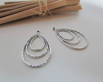 4 charms 3.5 x 2 cm in silver, bronze - colored hole 1.5 mm