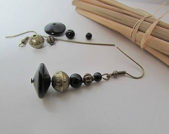 Kit hook earring beads metal bronze-black glass - 5.3 cm - 141