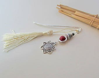 Bookmark silver Sunburst glass bead and metal-tassel - 3