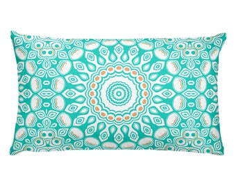 Throw Pillows Turquoise, Rectangle Cushion in Blue and White, Home Decor Pillows, 20x12 Lumbar Pillow