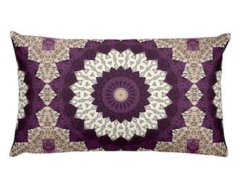 20x12 Decorative Lumbar Pillow, Mandala Design Cushion, Home Decor Throw Pillow