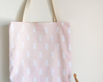 Cotton tote bag reversible pineapple motif