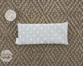 Eye pillow with Lavender Amma Therapy   Meditation Cushion & Relaxation   Organic Pearled barley   Cotton canvas   Rain drop print
