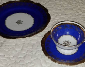 Cobalt Blue Bavarian China Dessert Set c1940s very rare