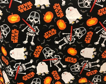 Star Wars Spooky Halloween Darth Vader and R2D2 fabric, Disney fabric, cartoon fabric, Halloween fabric, Star Wars