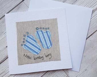 New baby card, baby boy card, original textile card, greeting card, textile artwork, handmade card, unique, blank card