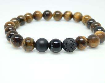 Tigers Eye Beaded Bracelet Stackable Bracelets Gift for Him Jewelry Under 50 Womens Beaded Bracelet Brown Lava Beaded Bracelet Good Luck