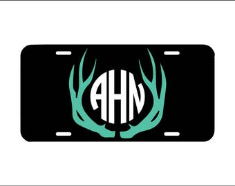 Deer antler monogram license plate, country girl front car license plate, monogram truck vanity plate tag, car tag, cute girly car accessory