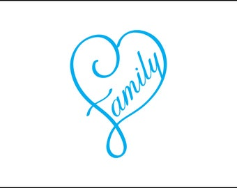 Family heart digital download, heart infinity svg, dxf, eps, ai, png, instant download, one family, home decor design, love family, forever