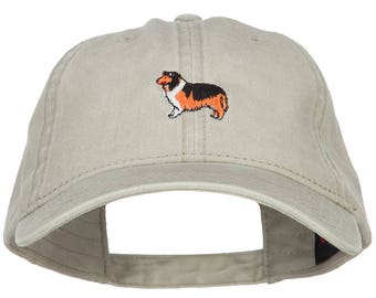 Collie Dog Embroidered Washed Cap