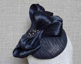 Black pillbox hat, black gold cocktail hat, wedding fascinator, black silk abaca bow, mother of the bride hat, winter wedding hat  - CH26