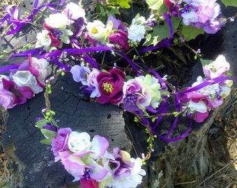Purple Flower Crown Headband Wedding Bridal
