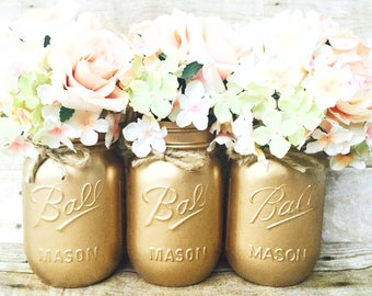 Set of 3 Hand Painted Gold Mason Jars, Wedding Centerpieces, Wedding Decor,  Spring