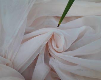 Light Pink, Light Blush Soft silk tulle fabric, silk like tulle  - 2.85 METERS WIDTH