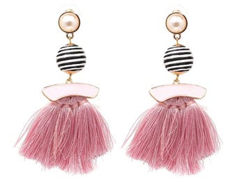 Bon Bon and Tassle Pink Earrings