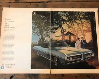 Vintage LIFE 1968 Pontiac Ad, 69 Bonneville, General Motors, Grand Prix (C062)