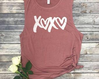 XOXO Shirt - Hugs and Kisses - Heart Tank Tops - Valentines Day Shirt - Muscle Tee Women - Muscle Tank - Yoga Tank Top - Workout Shirts