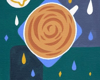 Original Acrylic Painting- Storm in a teacup- 5 x 7 inches